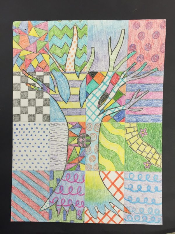 tree of art elements done in colored pencil on paper
