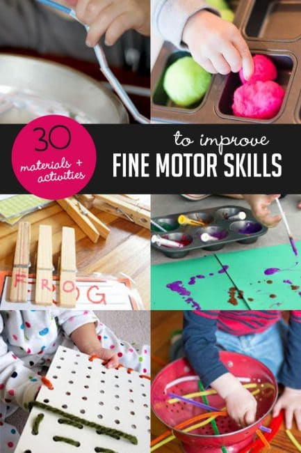 Looking for a cool, creative way to work fine motor skills practice into your play? Check out this giant list of activities and materials. You'll want to keep this on hand!