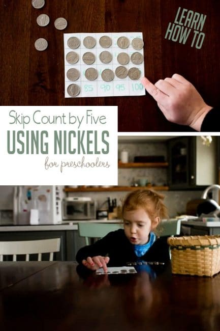 Work on skip counting by with using nickels in a simple preschool math activity that you can do again and again!