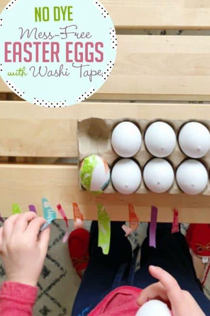 Make pretty no-dye Easter eggs using washi tape for a fun kid-friendly craft!