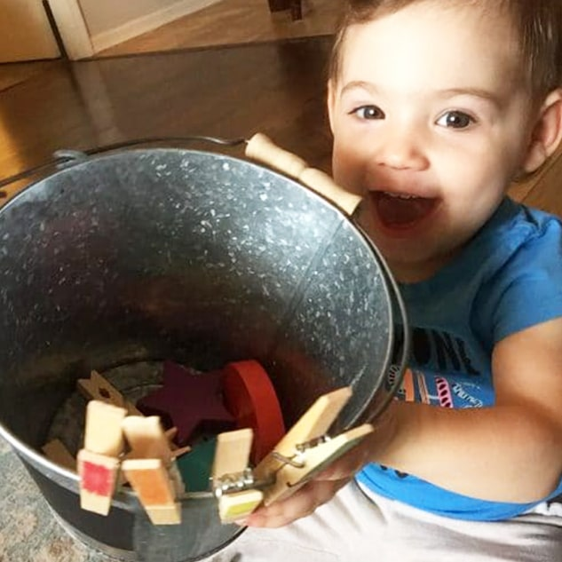 Have the best time with a bucket and come clothespins!