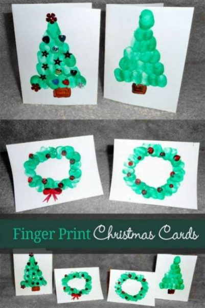 Christmas cards for kids to make using their own finger prints! How cute!