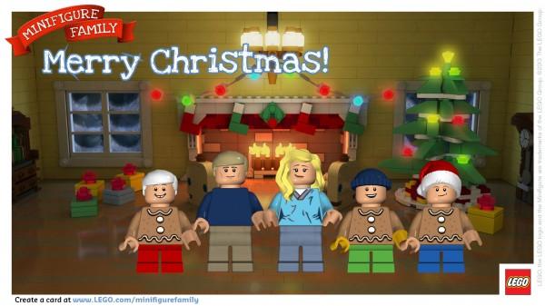 Make A LEGO Minifigure Family Postcard Merry Christmas