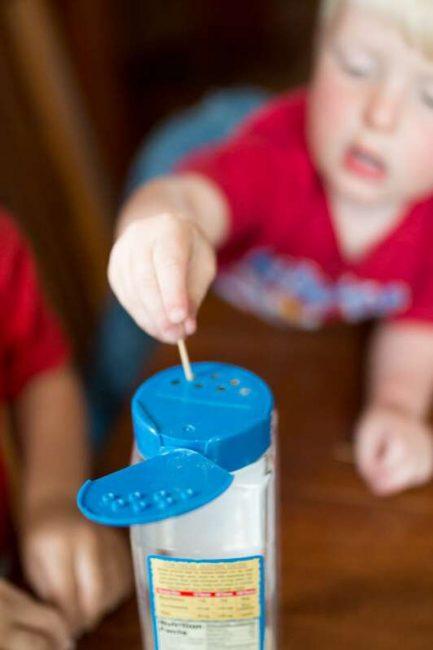 Using toothpicks to help child improve their fine motor skills