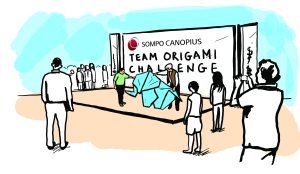 Sketch of origami challenge for Sompo Canopius