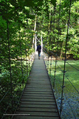 Crossing the suspension bridge at Grove of the Patriarchs - Mount Rainier National Park, WA (Photo credit: Mom)