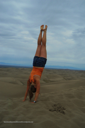Handstand on top of High Dune - Great Sand Dunes National Park & Preserve, CO