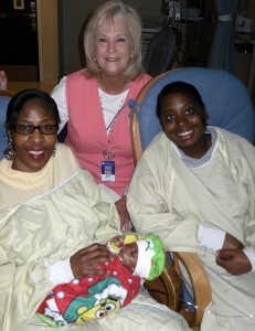 Mary Dudley visiting fellow preemie mamas in the NICU