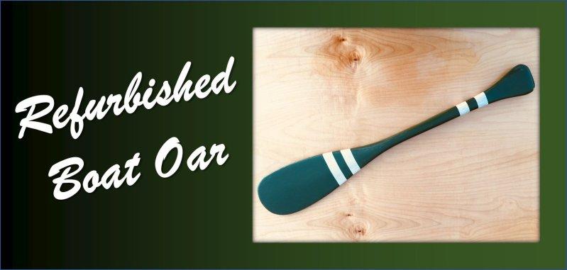 Refurbished Boat Oar Wood Green White Stripe