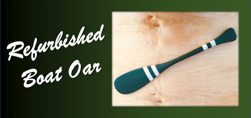Refurbished Boat Oar Wood Green White Stripe