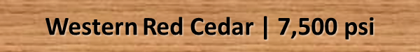 Western Red Cedar Bending Strength psi