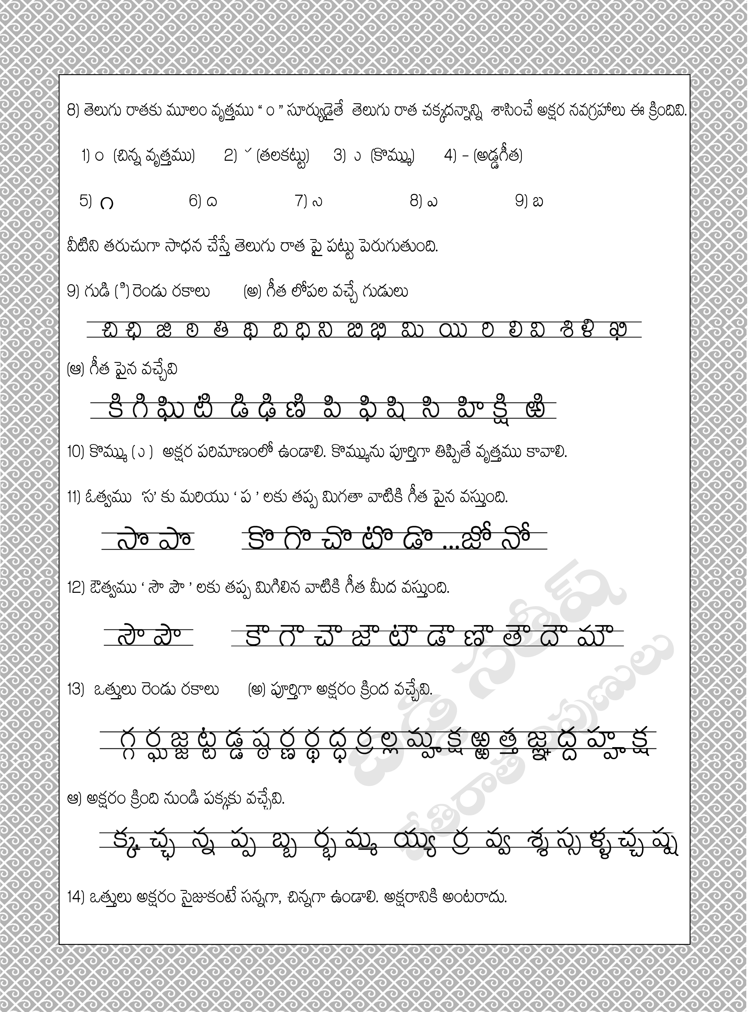 Telugu Letters Tracing Worksheets