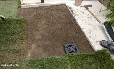 We got rid of the grass, placed new dirt and a proper drainage system.