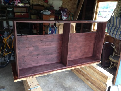 staining the shelving unit