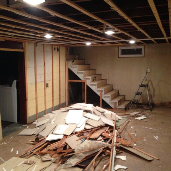 Gut the entire basement for a clean slate to work from