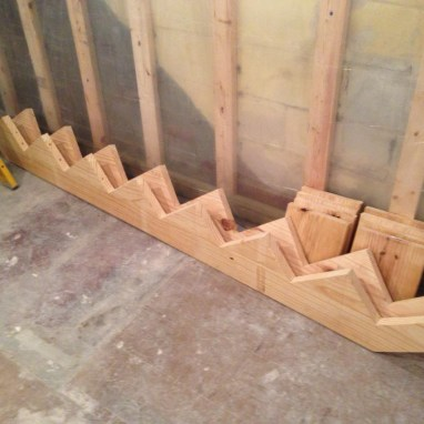 How to install floating stairs... These stringers will be the supports!