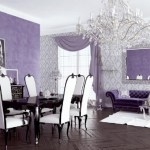 Elegant Dining Room With Bright Purple Interior