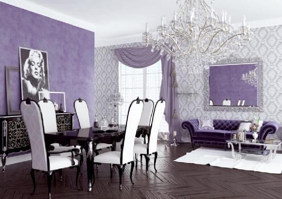elegant dining room with bright purple interior 1