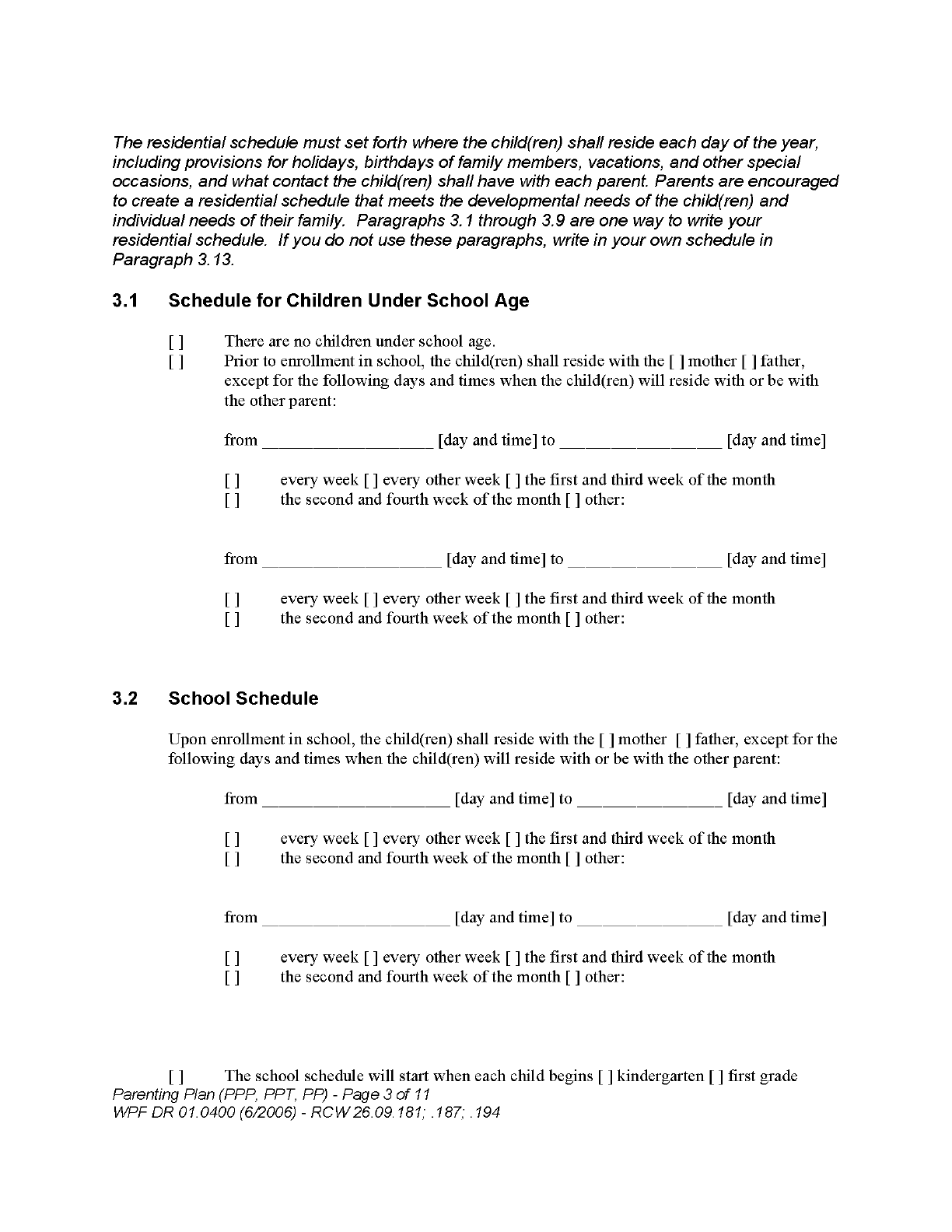 Parenting Plan Form