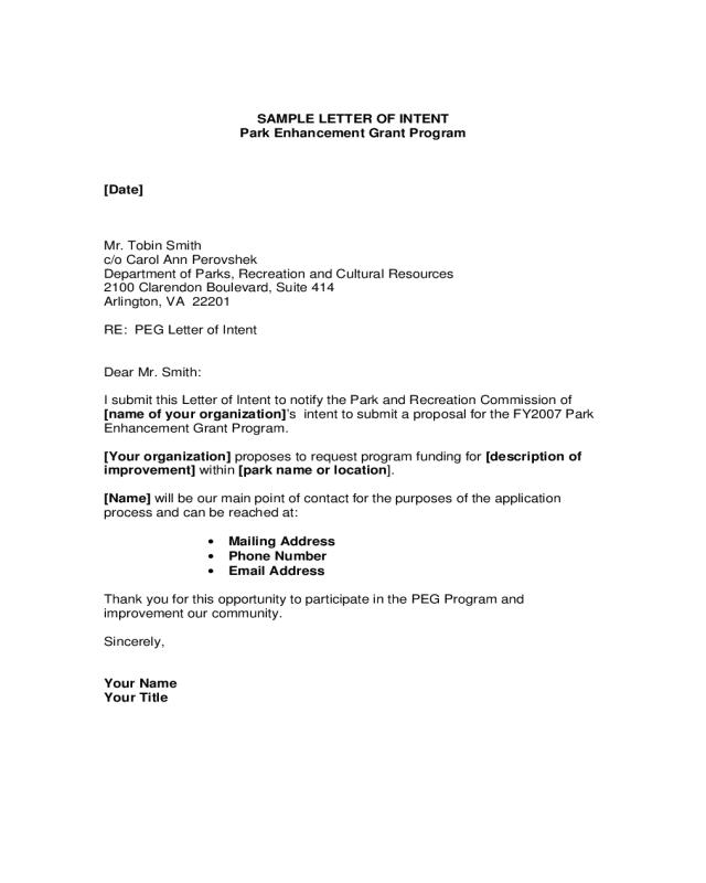 Letter Of Intent Format Edit Fill