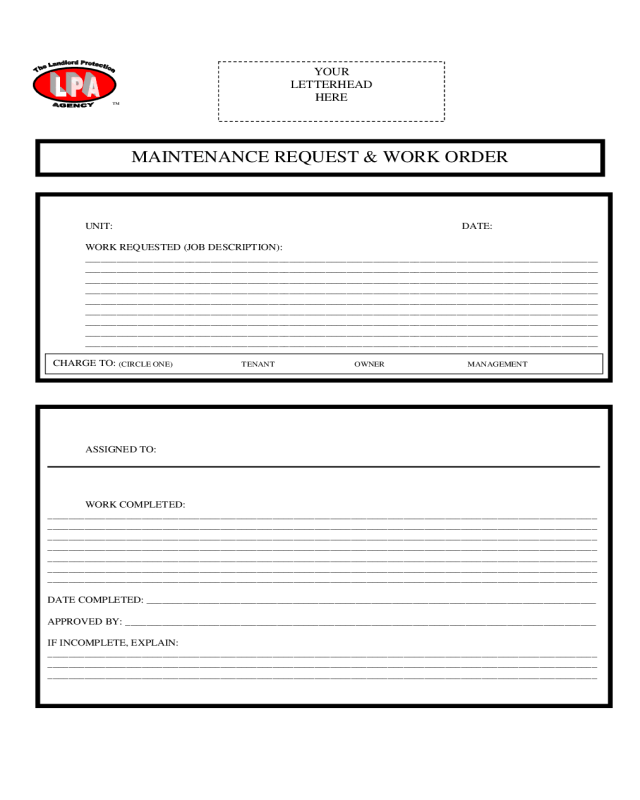 To make you aware of your responsibilities and deadlines when you have projects. Work Order Maintenance Request Form Edit Fill Sign Online Handypdf