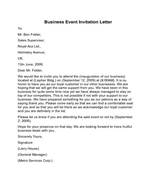 business event invitation letter sample