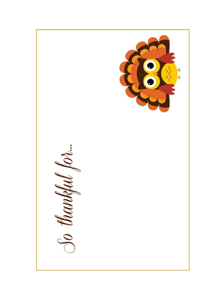2019 Thanksgiving Card Template Fillable Printable PDF