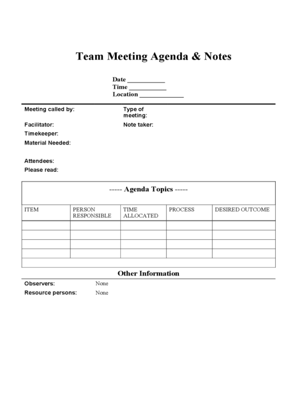 2018 Team Meeting Agenda Template - Fillable, Printable ...