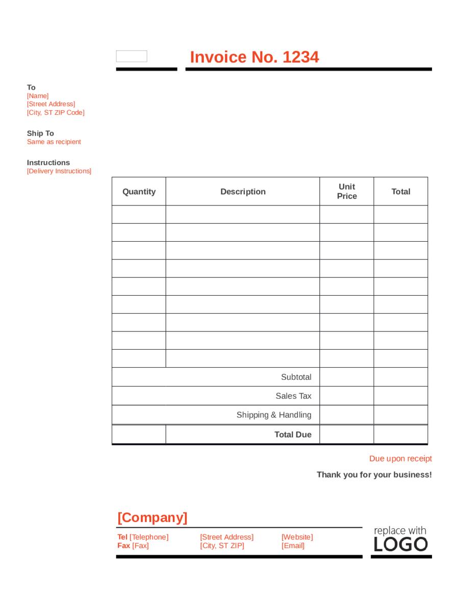 Printable Standard Invoice