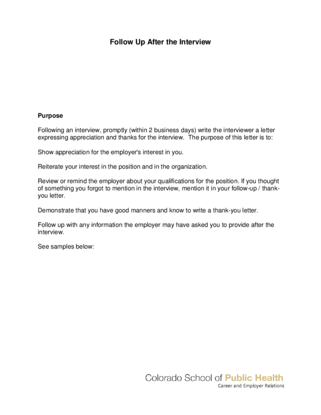 Follow Up Letter After Interview
