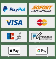 Kreditkarte, Kauf auf Rechnung, Vorauskasse, Giropay, Apple Pay, Google Pay, PayPal, Sofortüberweisung Zahlungsvarianten