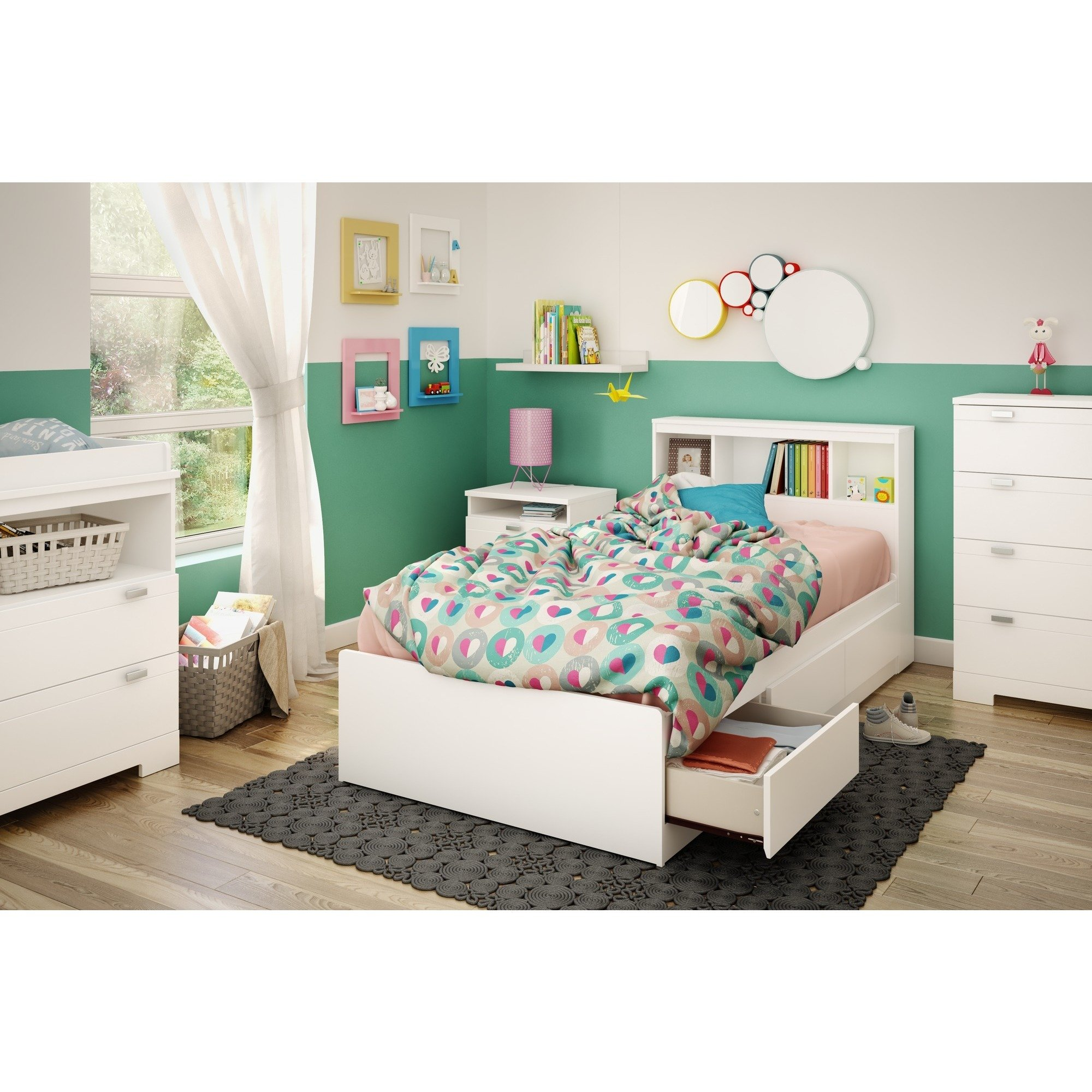 Handys Reevo Mates Pure White 39 Inch Twin Bed With Bookcase Headboard