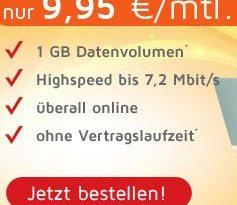 Internet Flatrate 1GB ohne Laufzeit nur 9.99€ mtl