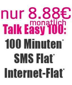 100 Min + SMS Flat + Internet Flat nur 8.88€ mtl