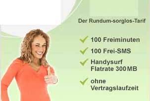 100 Minuten + 100 SMS + Internet Flatrate ab 7.95€ mtl