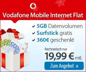 Vodafone Internetflat 5GB + 360 Euro Auszahlung