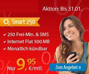 250 Minuten + 250 SMS + Internet Flat nur 9.95€ mtl