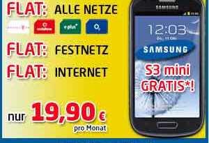 Galaxy S3 mini + AllNet Flatrate nur 19.90€ mtl