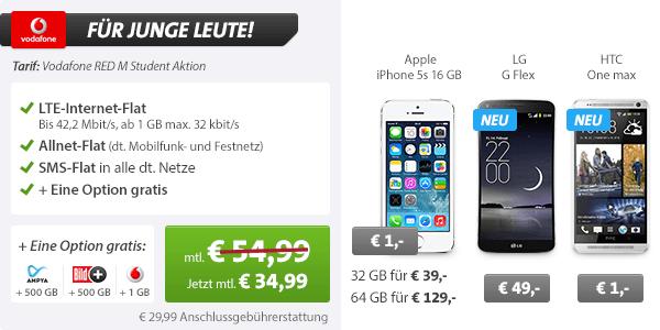 Internet Flatrate 2GB + AllNet Flat + iPhone 5s 34.99€ mtl