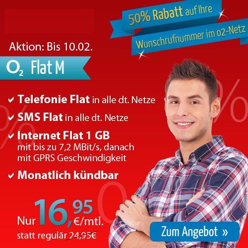 o2 VIP Nummern zum 1/2 Preis + AllNet Flat nur 16.95€ mtl