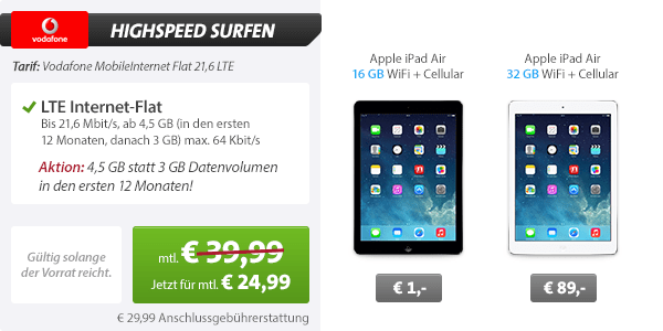Vodafone LTE 3GB Flat + iPad Air 24.99€ mtl