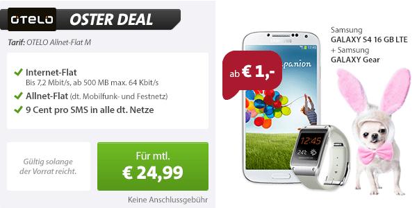 Galaxy Gear + Galaxy S4 + AllNet Flat 24.99€ mtl