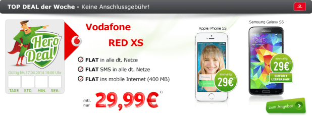 Red XS Spezial mit Samsung/Apple 29.99€ mtl