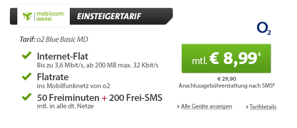HTC One mini + o2 Flat + 50 Min + Datenflat 8.99€ mtl