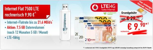 Daten-Aktion Internet-Flat 7500 LTE 9.90€ mtl