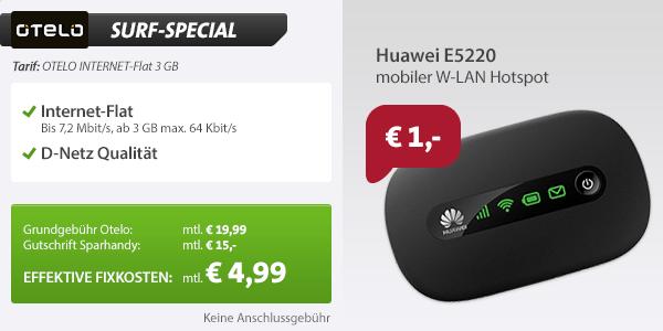 INTERNET-Flat 3 GB Aktion 4.99€ mtl