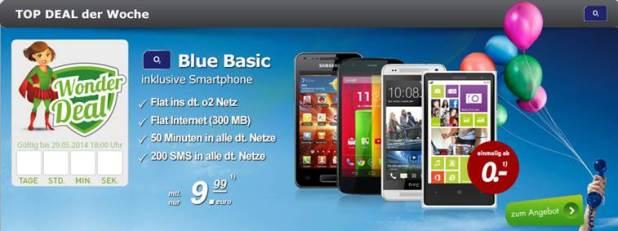 HTC One mini + o2 Blue Basic 9.99€ mtl