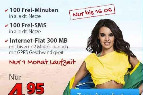 100 Min + 100 SMS + Internet Flat -ohne Laufzeit- 4.95€ mtl