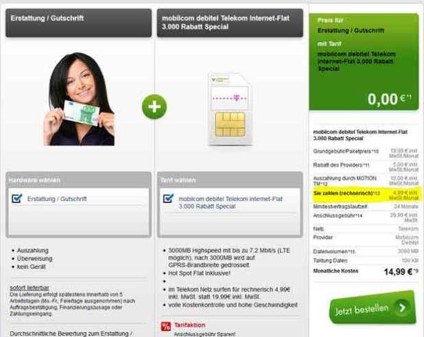 Telekom Internet Flat 3000 nur 4.99€ mtl