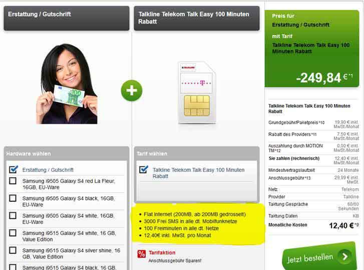 Talkline Telekom Talk Easy 100 1.99€ mtl